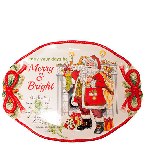 Овальное блюдо Fitz and Floyd Merry and Bright, фото