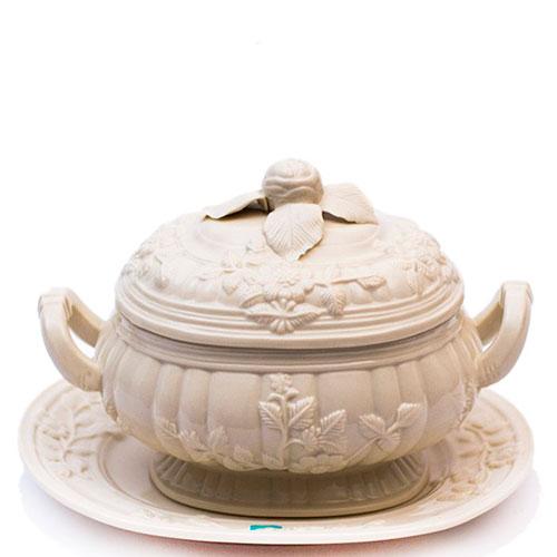 Супница с подносом Palais Royal из белой керамики, фото