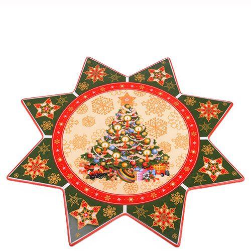 Блюдо фигурной формы Новогодняя коллекция из фарфора, фото