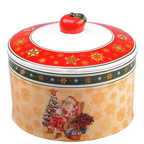 Емкость из фарфора для сыпучих продуктов Новогодняя коллекция, фото