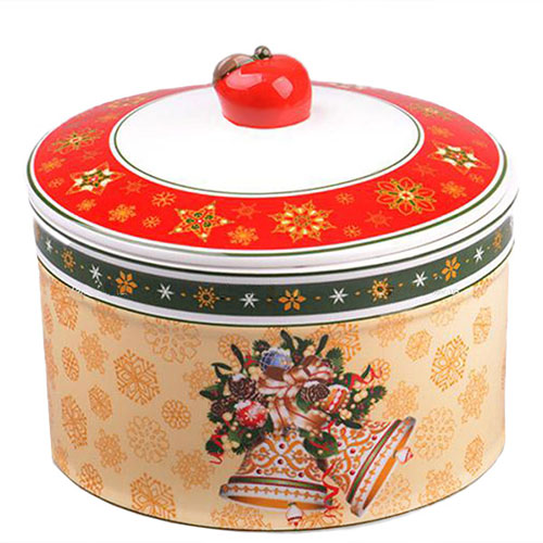 Банка из фарфора для сыпучих продуктов Новогодняя коллекция, фото