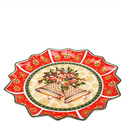 Фарфоровое блюдо Новогодняя коллекция круглое, фото