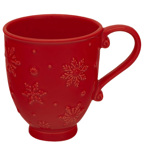 Чашка красного цвета Bordallo Pinheiro Снежинки, фото