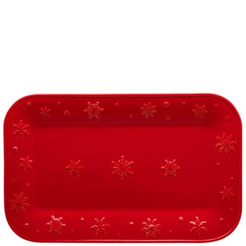 Блюдо Bordallo Pinheiro Снежинки прямоугольной формы красного цвета, фото