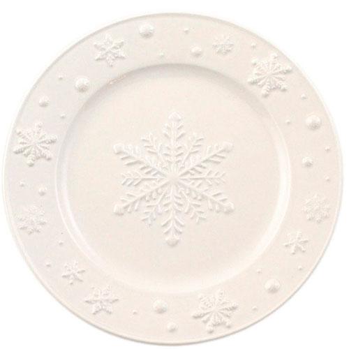Десертная тарелка Bordallo Pinheiro Снежинки белого цвета 22x2см, фото