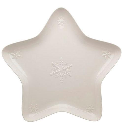 Блюдо белого цвета Bordallo Pinheiro Снежинки 45x45см, фото