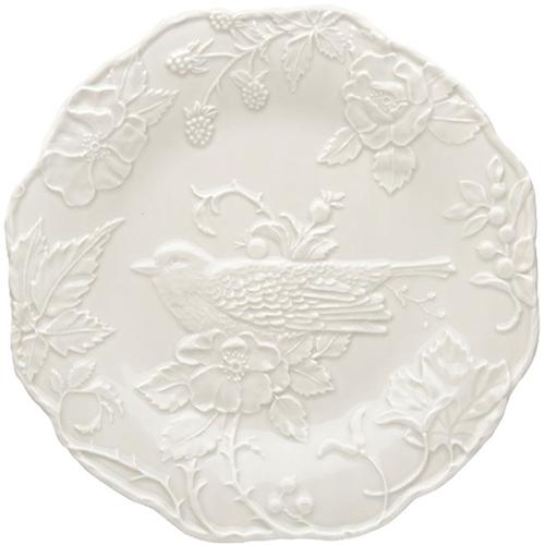 Обеденная тарелка Bordallo Pinheiro Артишок и птица белого цвета, фото