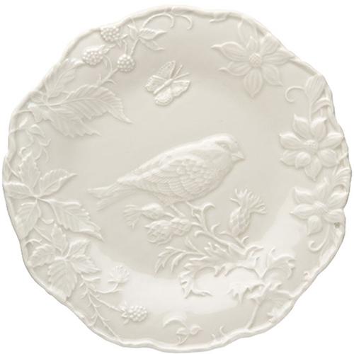 Белая обеденная тарелка Bordallo Pinheiro Артишок и птица, фото
