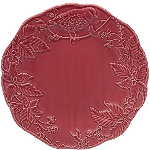 Бордовая подставная тарелка Bordallo Pinheiro Артишок и птица, фото