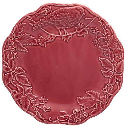 Бордовая тарелка Bordallo Pinheiro Артишок и птица, фото