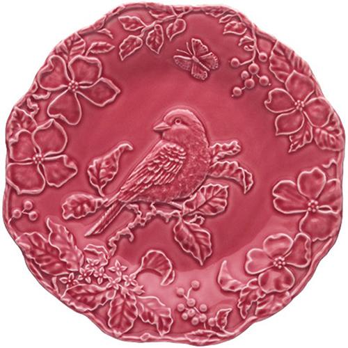 Бордовая обеденная тарелка Bordallo Pinheiro Артишок и птица, фото