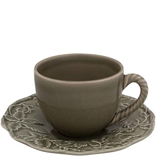 Набор из 6 чайных чашек с блюдцами Bordallo Pinheiro Артишок и птица зеленого цвета, фото