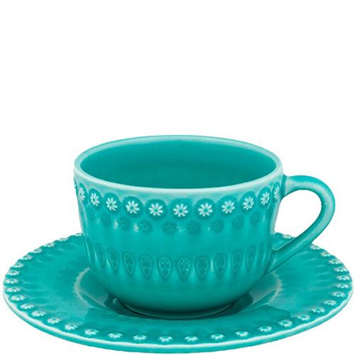 Бирюзовая чайная чашка с блюдцем Bordallo Pinheiro Фантазия, фото