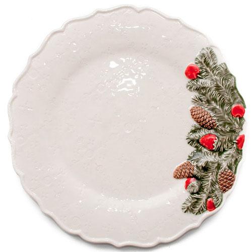 Обеденная тарелка Bordallo Pinheiro Рождественская гирлянда бежевого цвета 29,5см, фото