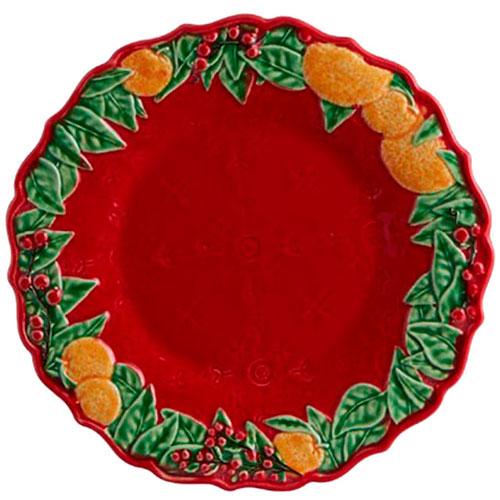 Десертная керамическая тарелка Bordallo Pinheiro Рождественская гирлянда 22см, фото