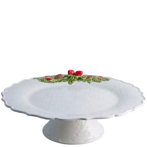 Тортовница белого цвета Bordallo Pinheiro Рождественская гирлянда, фото