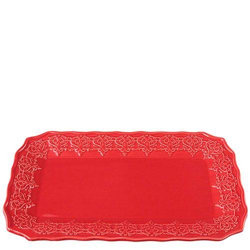 Блюдо Bordallo Pinheiro прямоугольной формы из керамики красного цвета, фото