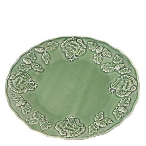 Тарелка Bordallo Pinheiro Индюк с узорами зеленая, фото