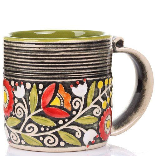 Набор из 2 кружек Manna Ceramics темно-зеленого цвета 400 мл, фото
