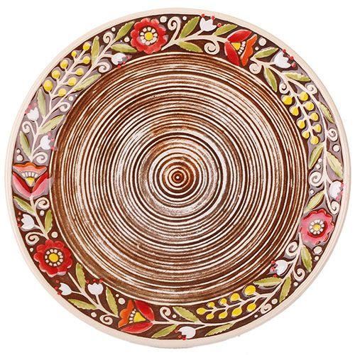 Набор из двух тарелок Manna Ceramics в красных цветах на коричневом фоне 21 см, фото
