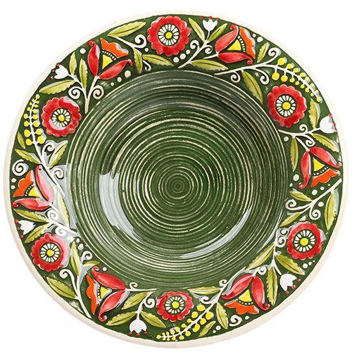 Набор из двух суповых тарелок Manna Ceramics зеленого цвета с ручной росписью 24 см, фото