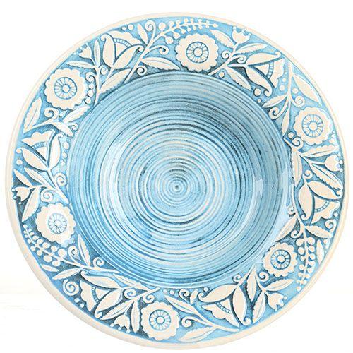 Набор из двух суповых тарелок Manna Ceramics голубого цвета с ручной росписью 24 см, фото