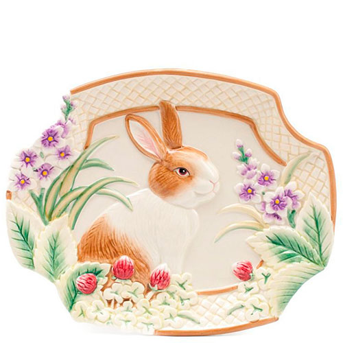 Десертная тарелка Fitz and Floyd с кроликом 26x20см, фото