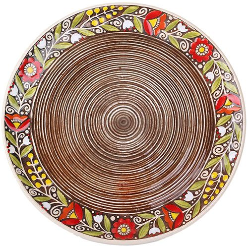 Набор из двух тарелок Manna Ceramics коричневого цвета с цветочным орнаментом 27 см, фото