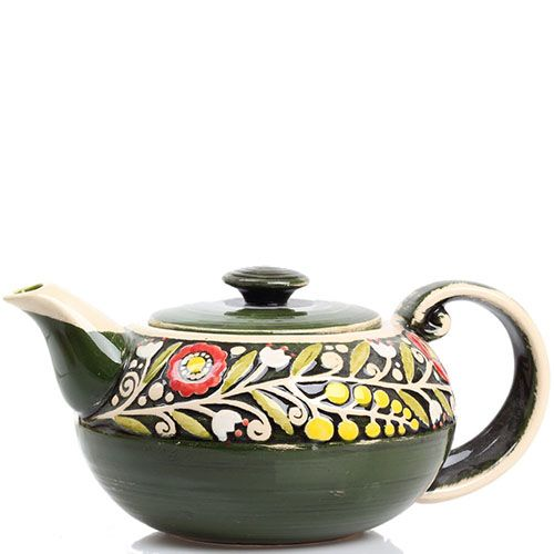 Керамический чайник Manna Ceramics зеленого цвета с цветами, фото