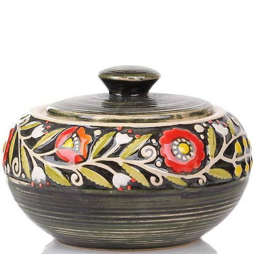 Расписная сахарница Manna Ceramics зеленого цвета с красными цветами, фото