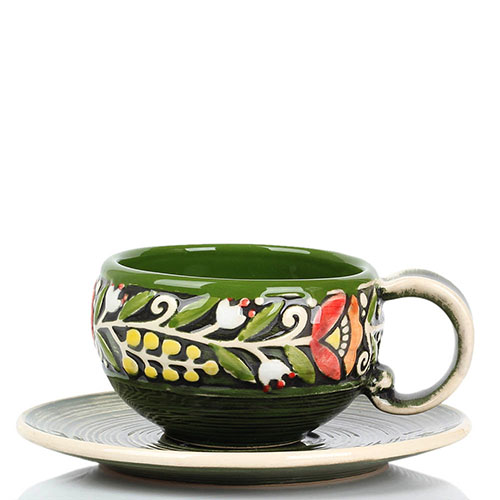 Кофейный набор Manna Ceramics зеленого цвета ручной работы разрисованная глазурью, фото