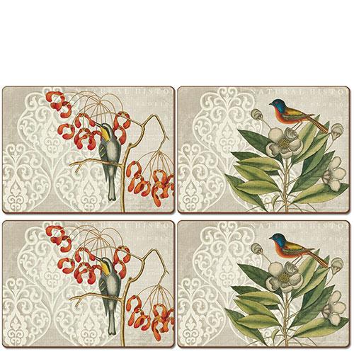 Набор ковриков 4шт Williamsburg Brand Catesby Bird Collage, фото