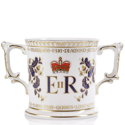 Фарфоровая чашка Royal Crown Derby Diamond jubilee с двумя ручками, фото