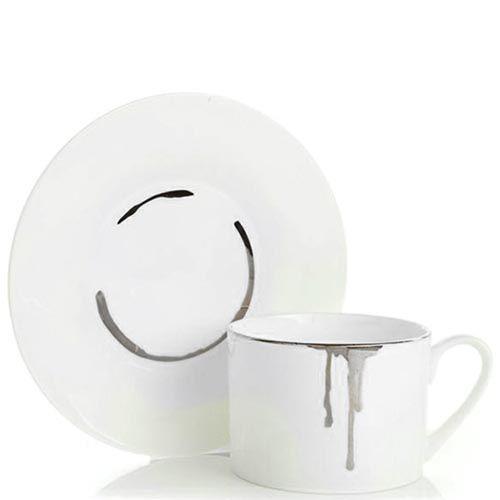 Фарфоровая чашка с блюдцем Reiko Kaneko Drip Platinum, фото