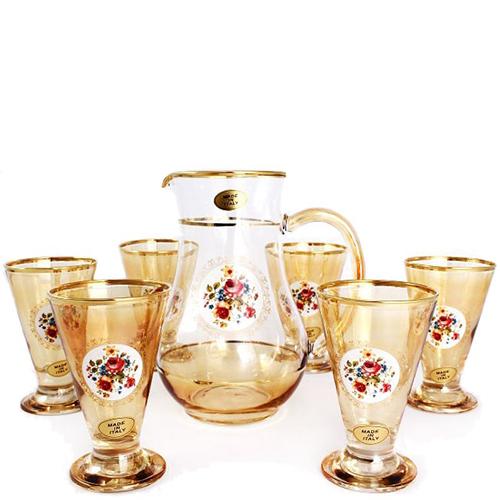 Хрустальный набор из 6 бокалов и кувшина Art Decor Cono Brocca Ветка, фото
