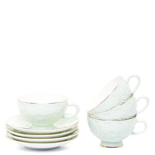 Чайный набор Pavone на четыре персоны Лаце Росса зеленый, фото