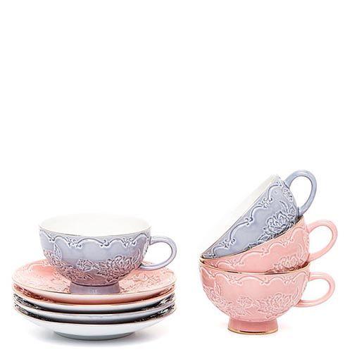 Чайный набор Pavone на четыре персоны Дольче Луиза розово-сиреневый, фото