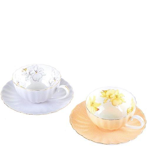 Чайный набор на 2 персоны Pavone Густо Лючия в пастельных оттенках сиреневого и оранжевого, фото