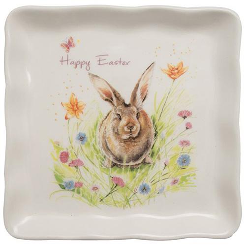 Квадратная тарелка Ceramica Cuore Кролик на лужайке, фото