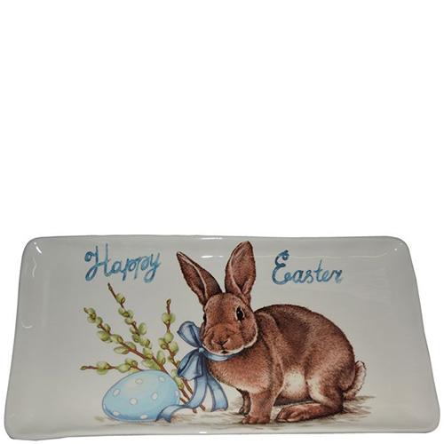 Блюдо Ceramica Cuore Пасхальный кролик прямоугольное , фото