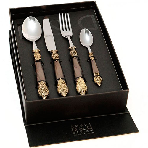 Набор столовых приборов на 6 персон Domus&Design Версаль коричневого цвета, фото