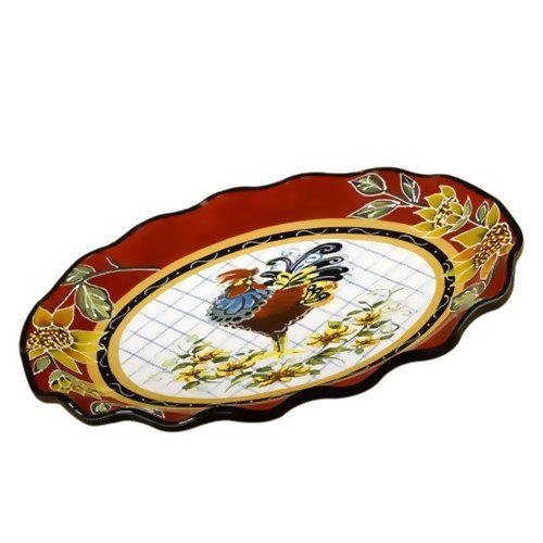 Блюдо овальное Chanticleer Rooster Certified International, фото