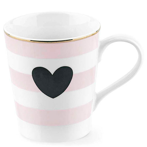 Кружка в полоску Miss Etoile с черным сердцем, фото