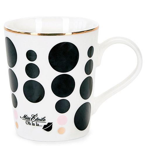 Керамическая чашка Miss Etoile в черные точки, фото