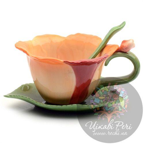 Чашка с блюдцем и ложечкой Pavone «Орхидея», фото
