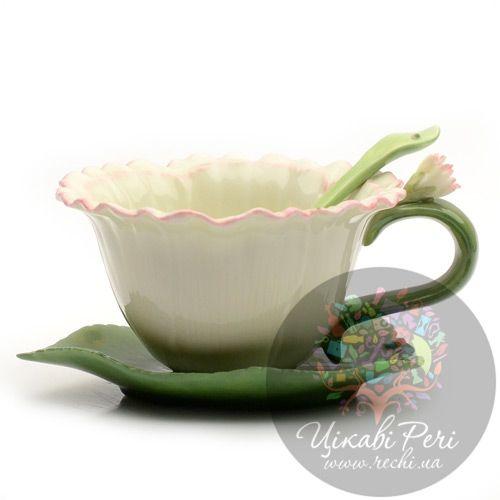 Чашка с блюдцем и ложечкой «Гвоздика», фото