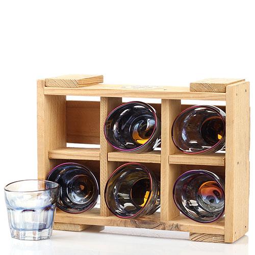 Набор из 6 граненных стопок Fomichov Brothers Пьяное стекло в деревянном ящике, фото