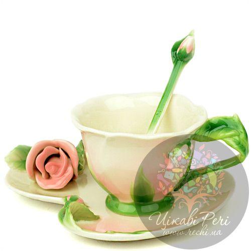 Набор Роза: чашка блюдце ложечка Pavone, фото