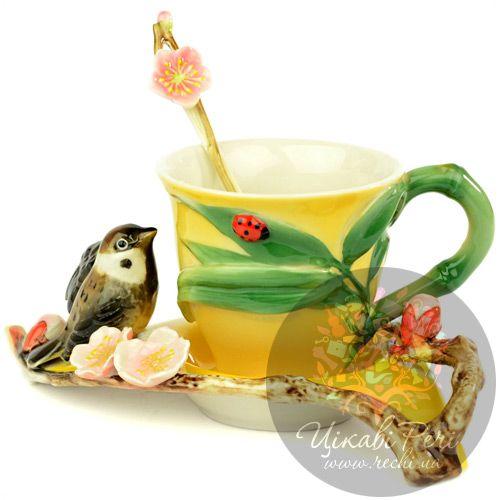 Набор Воробушек: чашка блюдце ложечка Pavone, фото