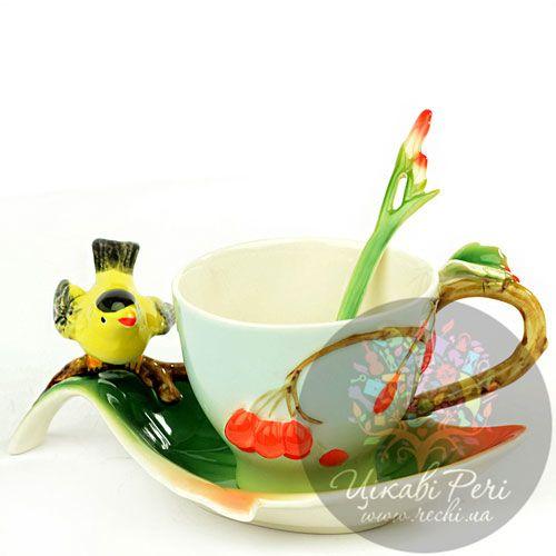Набор Вишенки: чашка блюдце ложечка Pavone, фото